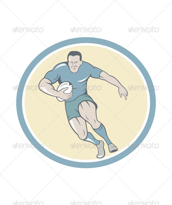 GraphicRiver Rugby Player Running Ball Circle Cartoon 7201659