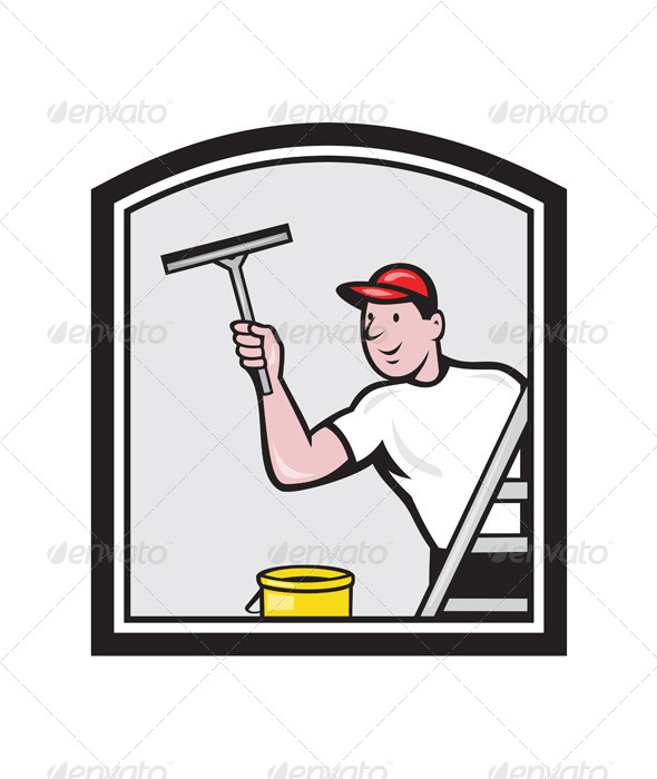 GraphicRiver Window Washer Cleaner Cartoon 7201668
