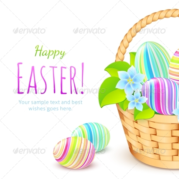 GraphicRiver Colorful Eggs in Basket Greeting Card Template 7201687
