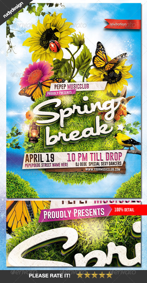 GraphicRiver Spring Break Summer Party Flyer 7201698