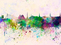Riga skyline in watercolor background - PhotoDune Item for Sale