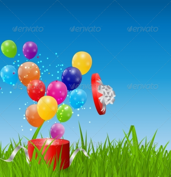 GraphicRiver Glossy Balloons on Drass Field Vector Illustration 7203197