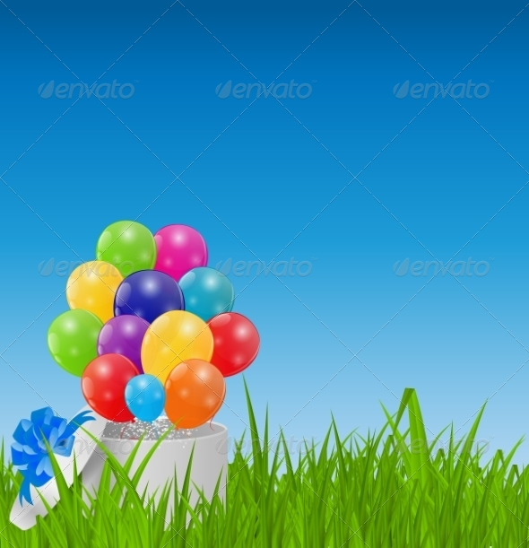 GraphicRiver Glossy Balloons on Drass Field Vector Illustration 7203209