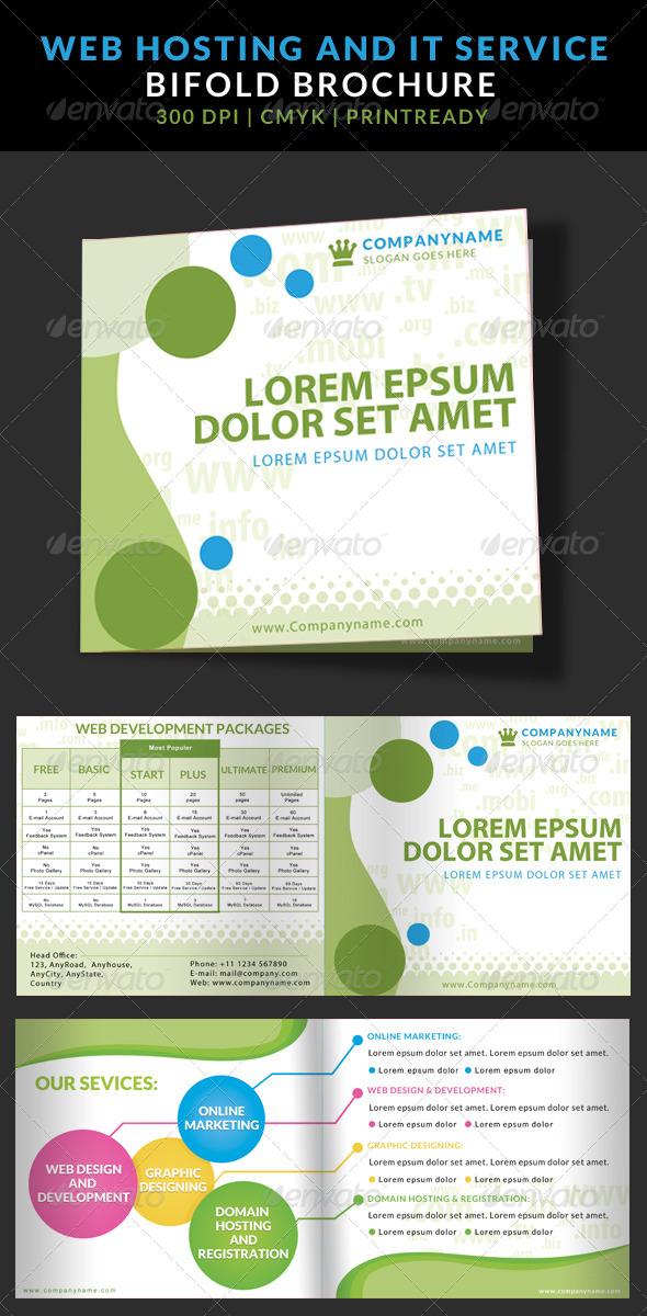 GraphicRiver IT Web Hosting Service Bi Fold Brochure Template 7203216