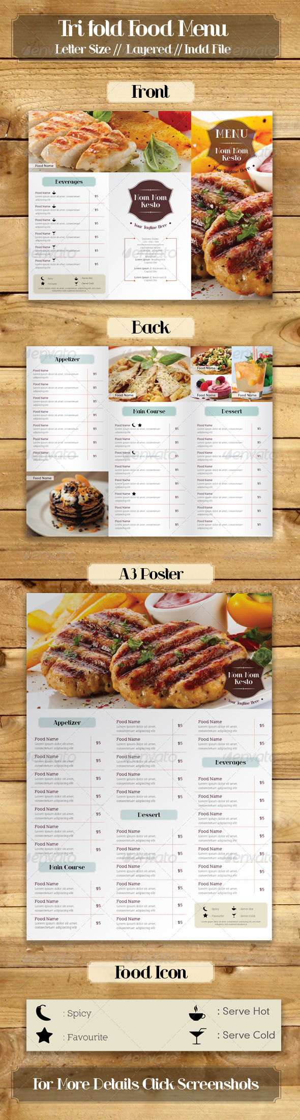 GraphicRiver Trifold Simple Food Menu 7203468