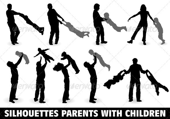 Graphic River Silhouette Happy Family Vectors -  Characters  People 755322