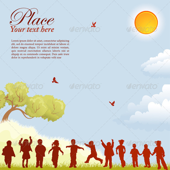 GraphicRiver Children Silhouettes 755325