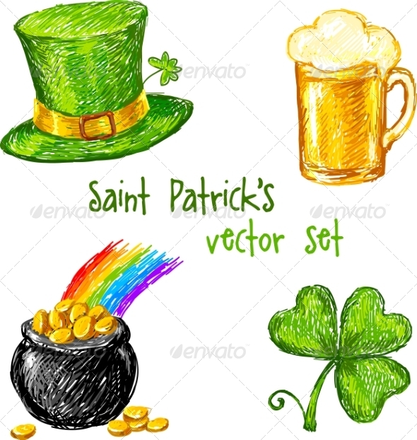 GraphicRiver Sketch Saint Patrick Day Set 7204539