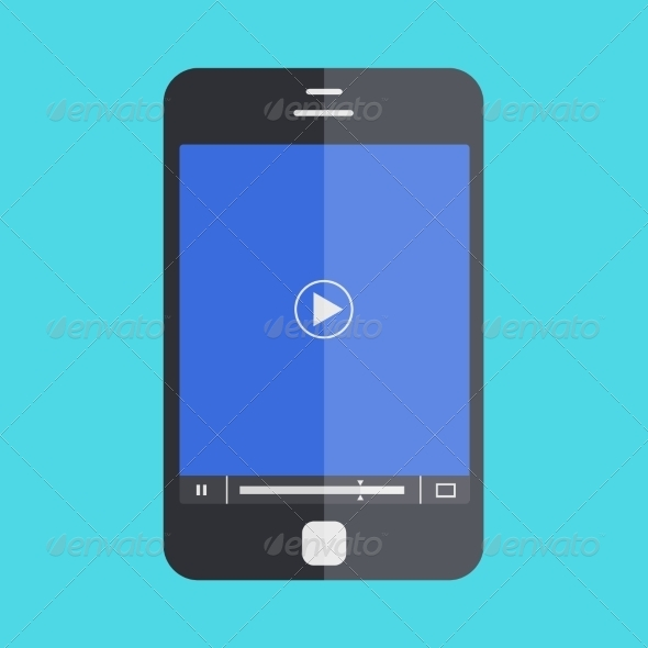GraphicRiver Smartphone with Player on Blue Background 7204738