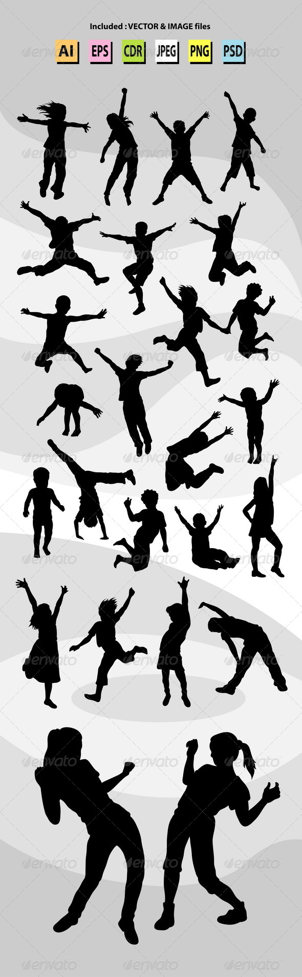 GraphicRiver Happy Kid Silhouettes 7204748