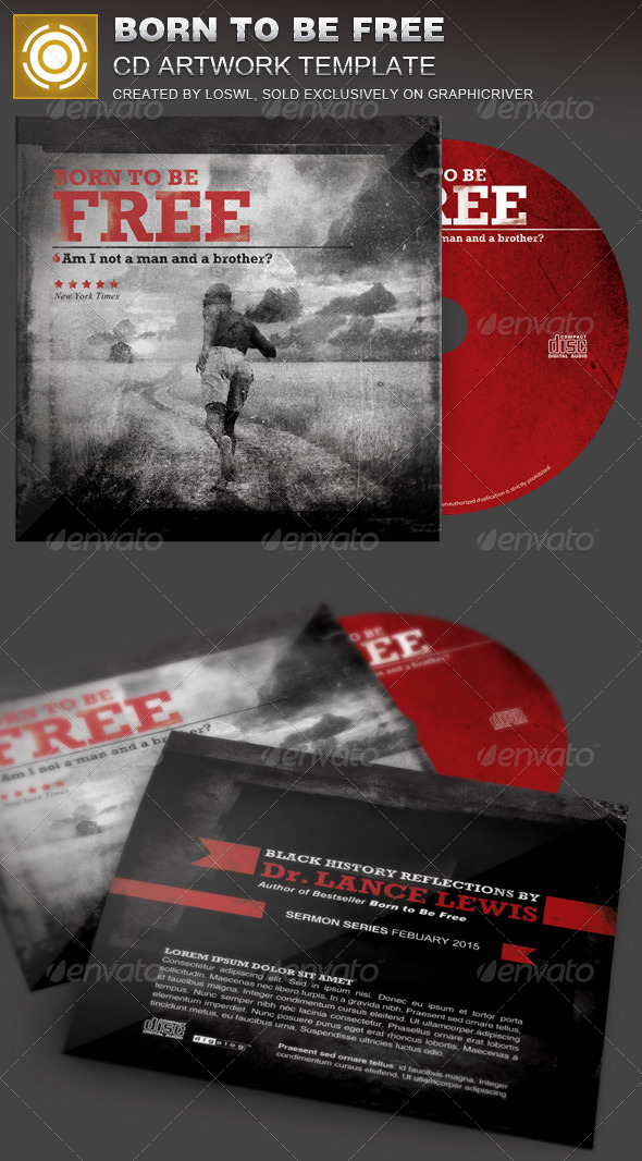 GraphicRiver Born to Be Free Black History CD Artwork Template 7204754