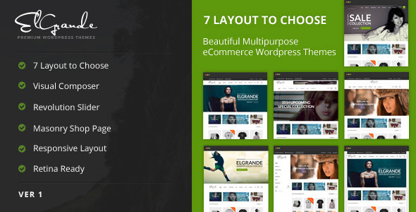 ThemeForest Elgrande 7 Beautiful Layouts eCommerce Theme 7205037