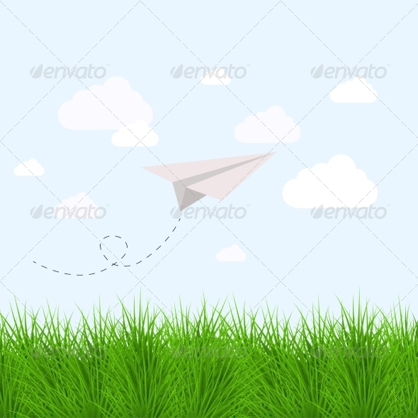 GraphicRiver Modern Grass with Origami Airplane 7206110