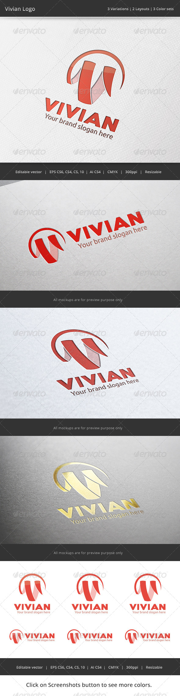 GraphicRiver Vivian V Letter Logo 7206236