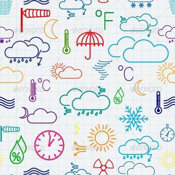 GraphicRiver Seamless Pattern of Weather Symbols 7206293