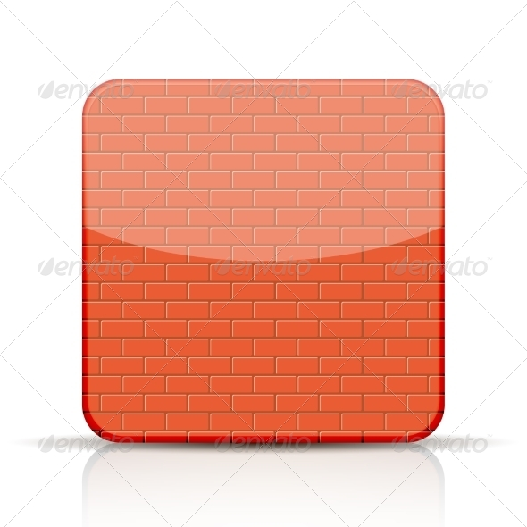 GraphicRiver Red Brick App Icon on White Background 7206803