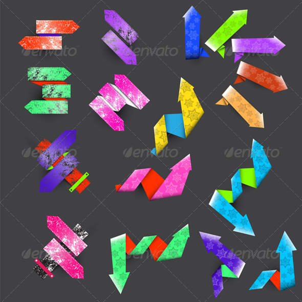 GraphicRiver Seventeen Color Textured Arrows 7207115