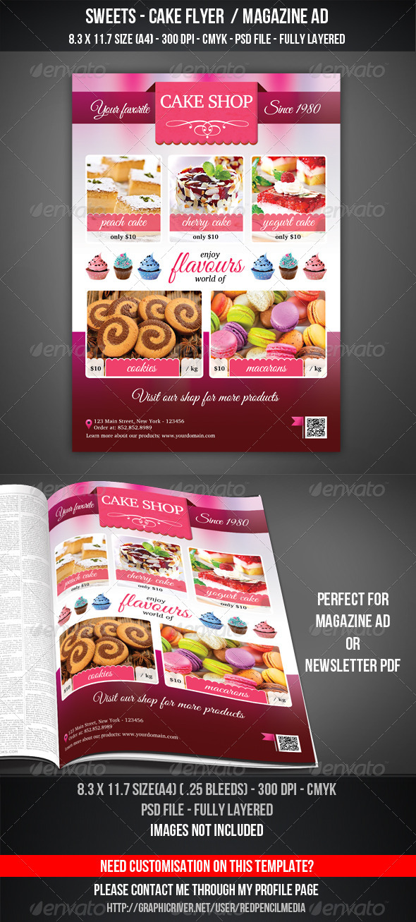 GraphicRiver Sweets Cake Shop Flyer Magazine AD 7207905