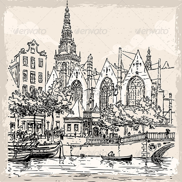 GraphicRiver Vintage View of Old Church in Amsterdam 7208828