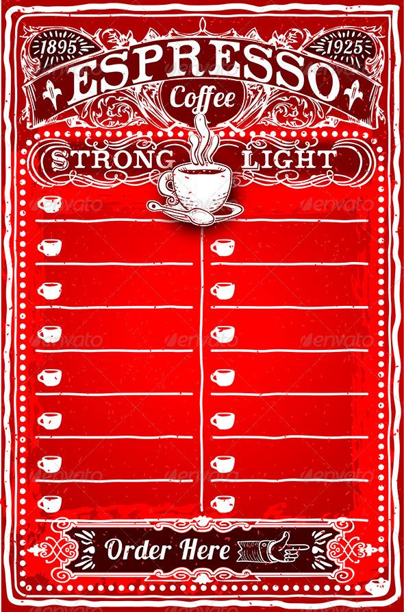 GraphicRiver Vintage Hand Drawn Board for Espresso Menu 7208835