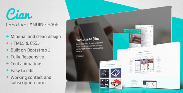 ThemeForest Cian Landing Page Template & Coming Soon 7209031