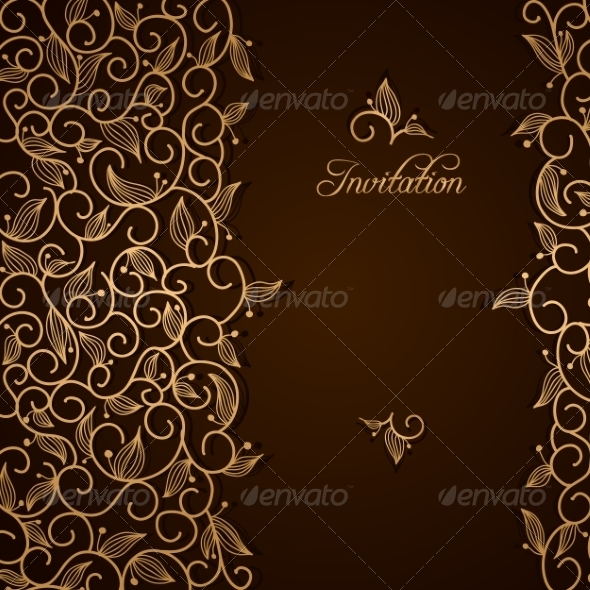 GraphicRiver Invitation with Gold Lace Floral Ornament 7209212