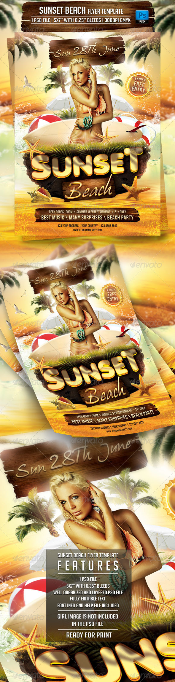 GraphicRiver Sunset Beach Flyer Template 7209728