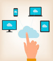 Flat design concept of cloud computing concept with hand and computer devices.  - PhotoDune Item for Sale