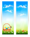 Easter banners with Easter eggs in basket and flowers.  - PhotoDune Item for Sale