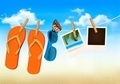 Flip flops, sunglasses and photo cards hanging on a rope. Summer memories background.  - PhotoDune Item for Sale