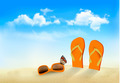 Flip flops, sunglasses and a butterfly on a beach. Summer memories background. - PhotoDune Item for Sale