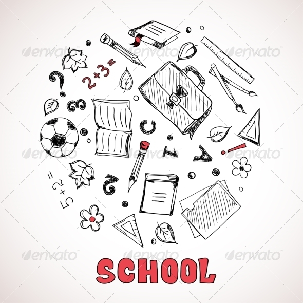 GraphicRiver Sketch of School Elements 7213213
