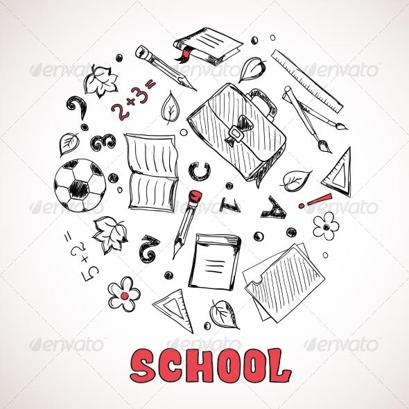 GraphicRiver Sketch of School Elements 7213213