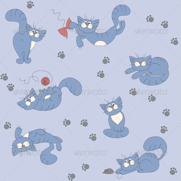 GraphicRiver Seamless Background with Playful Cats 7213272