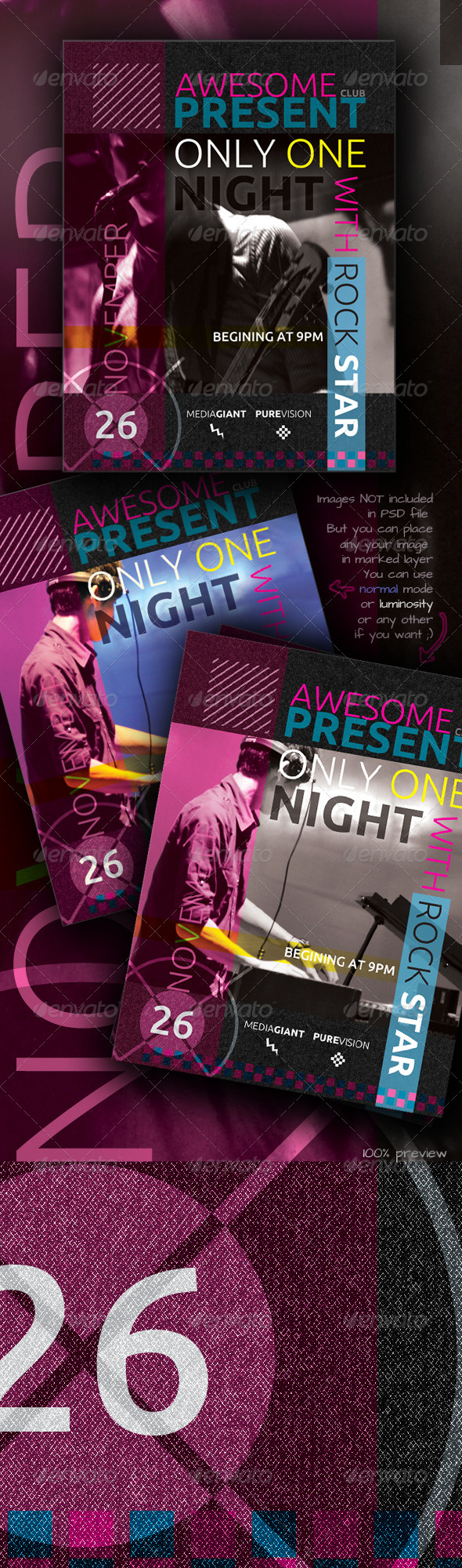 Graphic River Awesome Club Flyer Print Templates -  Flyers  Events  Clubs & Parties 755958