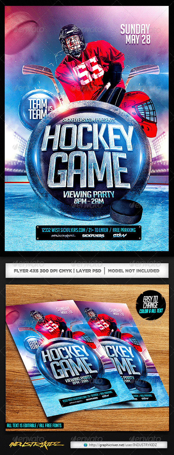 GraphicRiver Hockey Flyer PSD 7214404