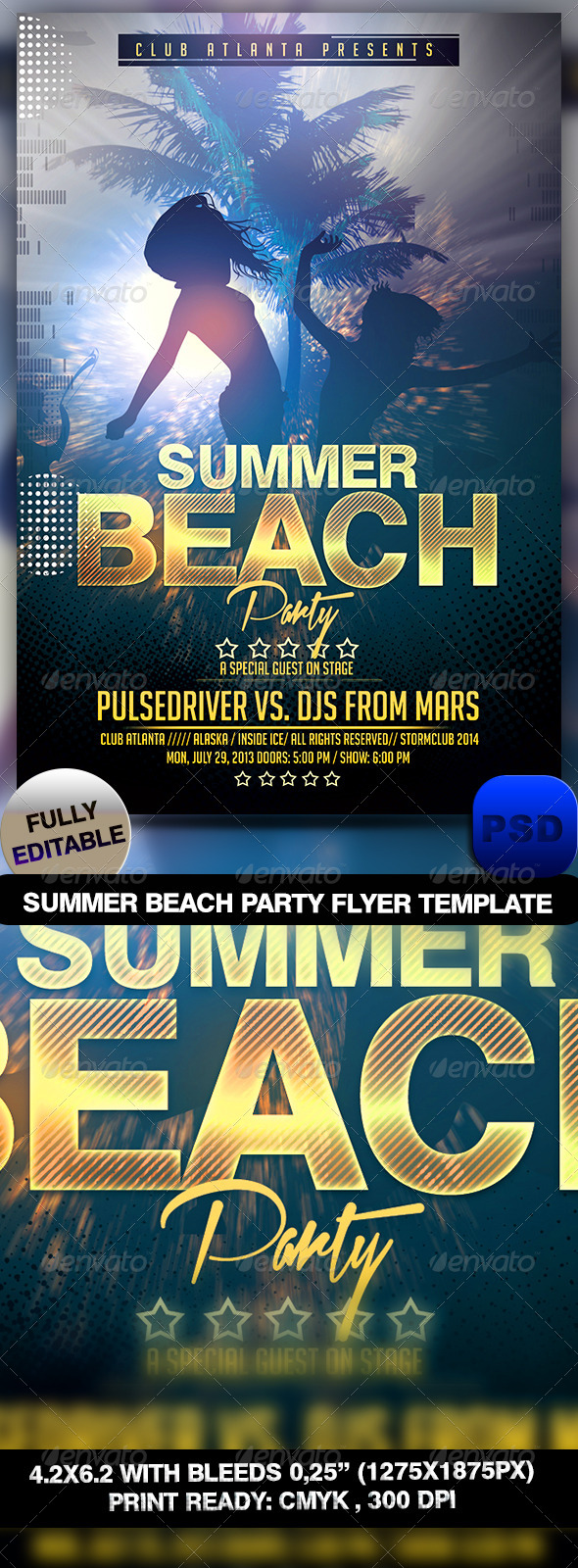 GraphicRiver Summer Beach Party Flyer Template 7214484
