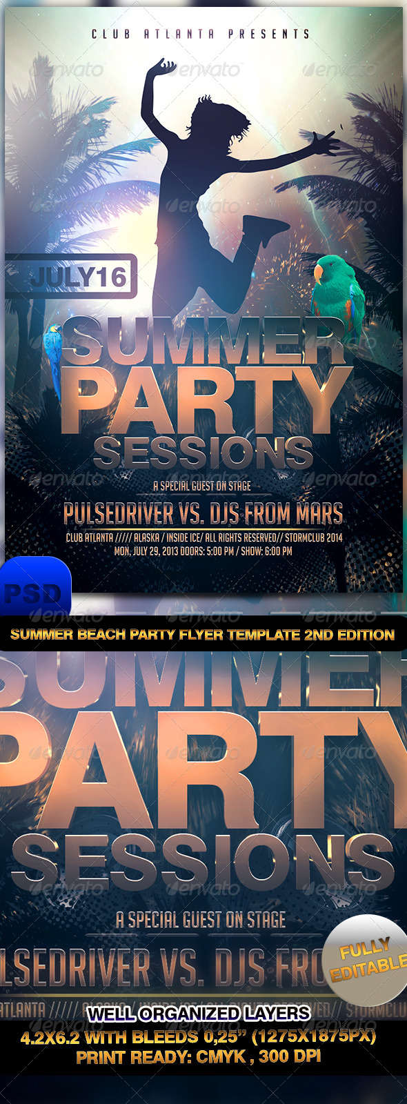 GraphicRiver Summer Beach Party Flyer Template 2nd Edtition 7215240