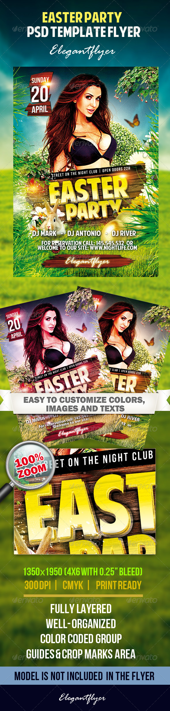 GraphicRiver Easter Party Flyer PSD Tempate 7215385