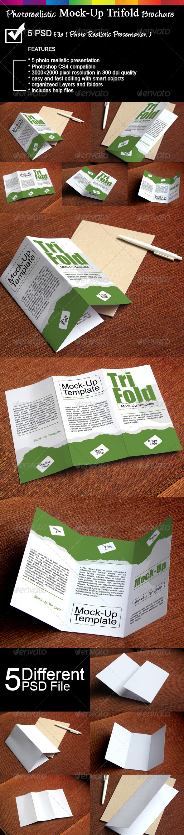 GraphicRiver Photorealistic Trifold Brochure Mock-Up 7215566