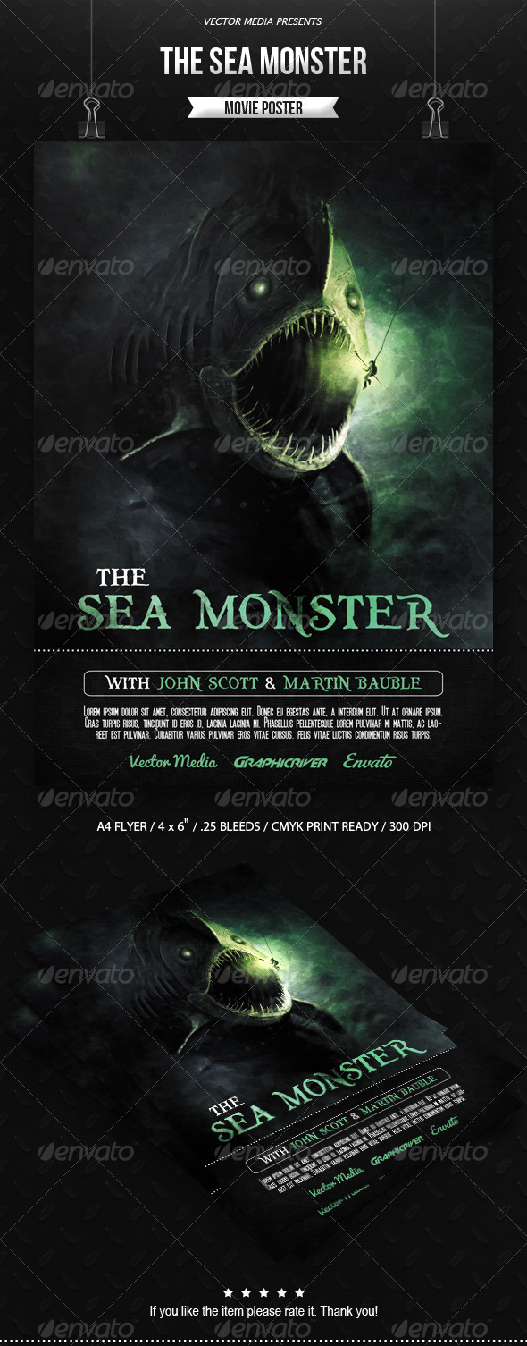 GraphicRiver The Sea Monster Movie Poster 7215762