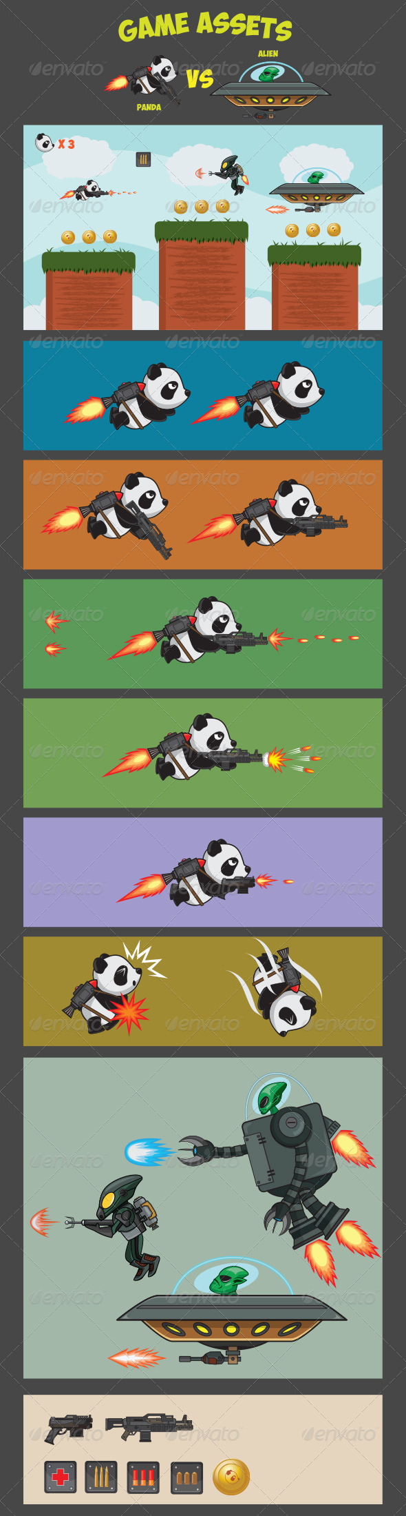 GraphicRiver Game Assets Panda Versus Alien 7216798