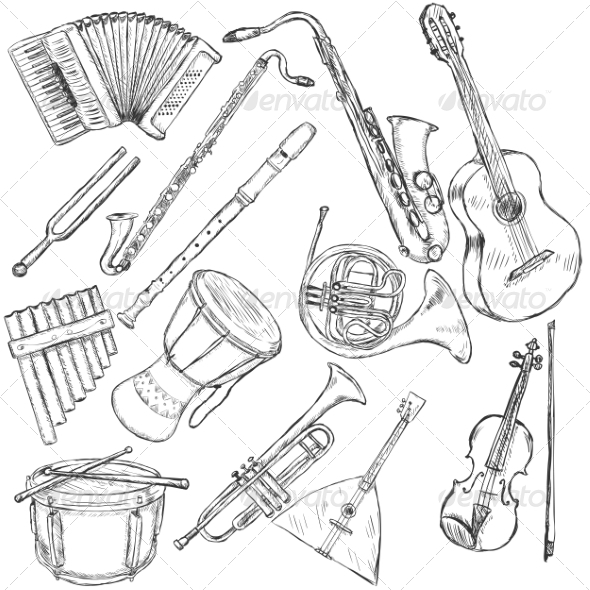 GraphicRiver Vector Set of Musical Instruments 7216916