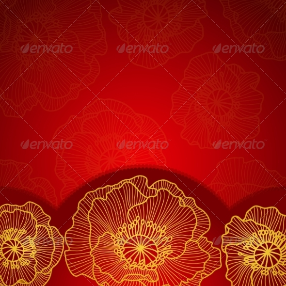 GraphicRiver Red Invitation Frame with Gold Lace Poppy 7217011