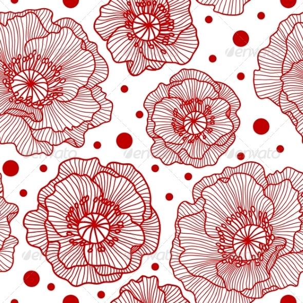 GraphicRiver Seamless Pattern with Red Lace Poppies 7217287