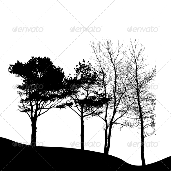 GraphicRiver Tree Silhouette Isolated on White Background 7217369