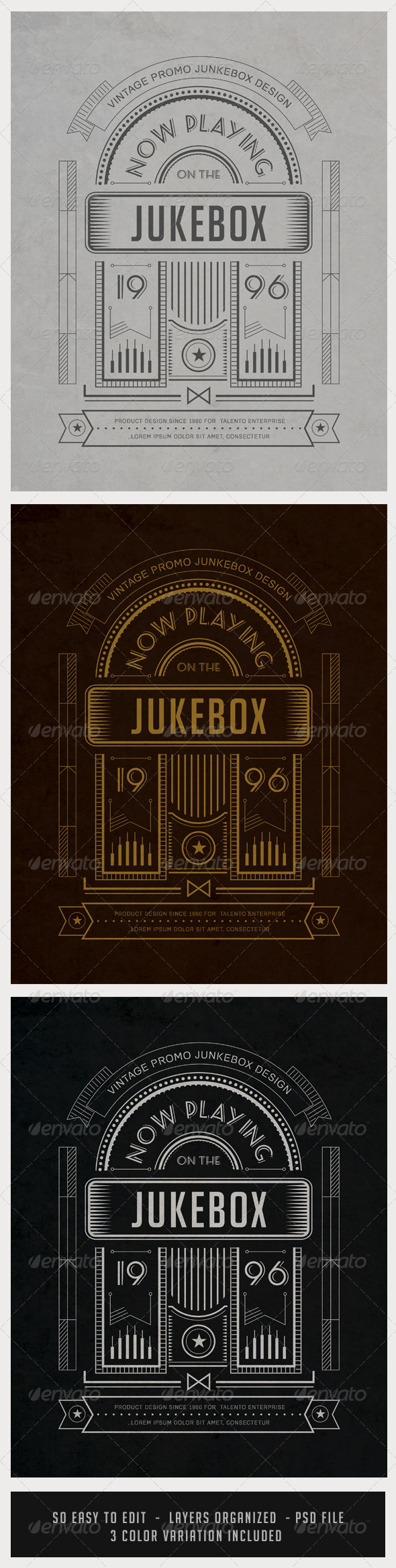 GraphicRiver Vintage Junkebox Poster with Shape Layers 7218429
