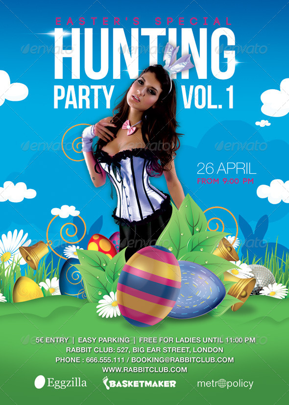 GraphicRiver Easter Special Rabbit Hunting Season Party 7218488