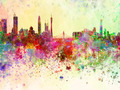 Guangzhou skyline in watercolor background - PhotoDune Item for Sale