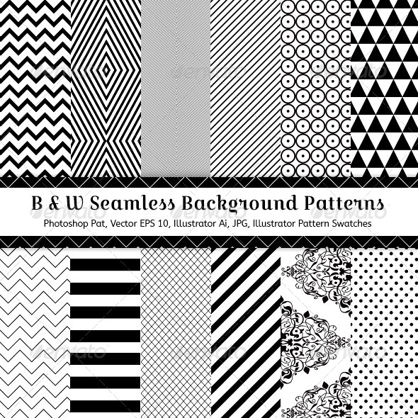 GraphicRiver Black & White Seamless Background Patterns 7218818